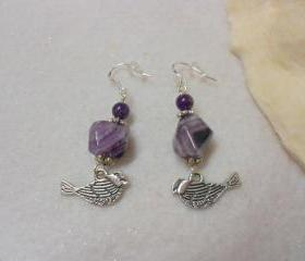 Amethyst Bird Earrings