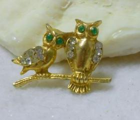 Vintage Owl Brooch Pin, Brooches, Pins, Owl Jewelry, Small Brooch