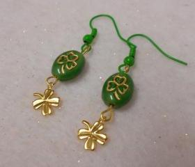 St. Patrick's Day Earrings 4 Leaf Clover Earrings Shamrock Earrings