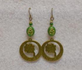 Lucky Earrings St. Patrick's Day Earrings Gold Shamrock-Clover Earrings