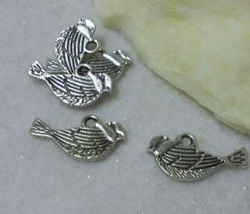 Antique Silver Bird Pendant Charms (Lot of 5)