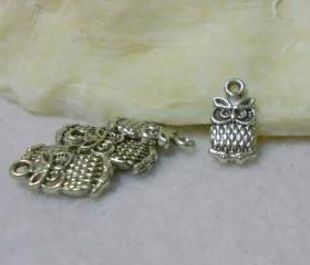 Antique Silver Owl Charms (Lot of 6)