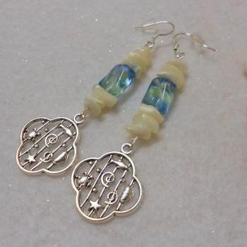 Ocean Theme Earrings with Mother of Pearl Shell